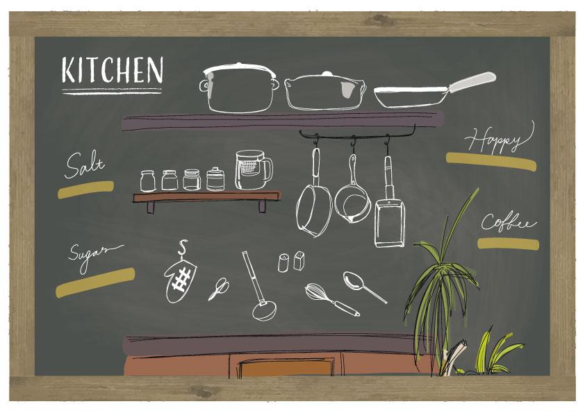 キッチン黒板イメージイラスト