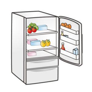 扉が開いた冷蔵庫イラスト