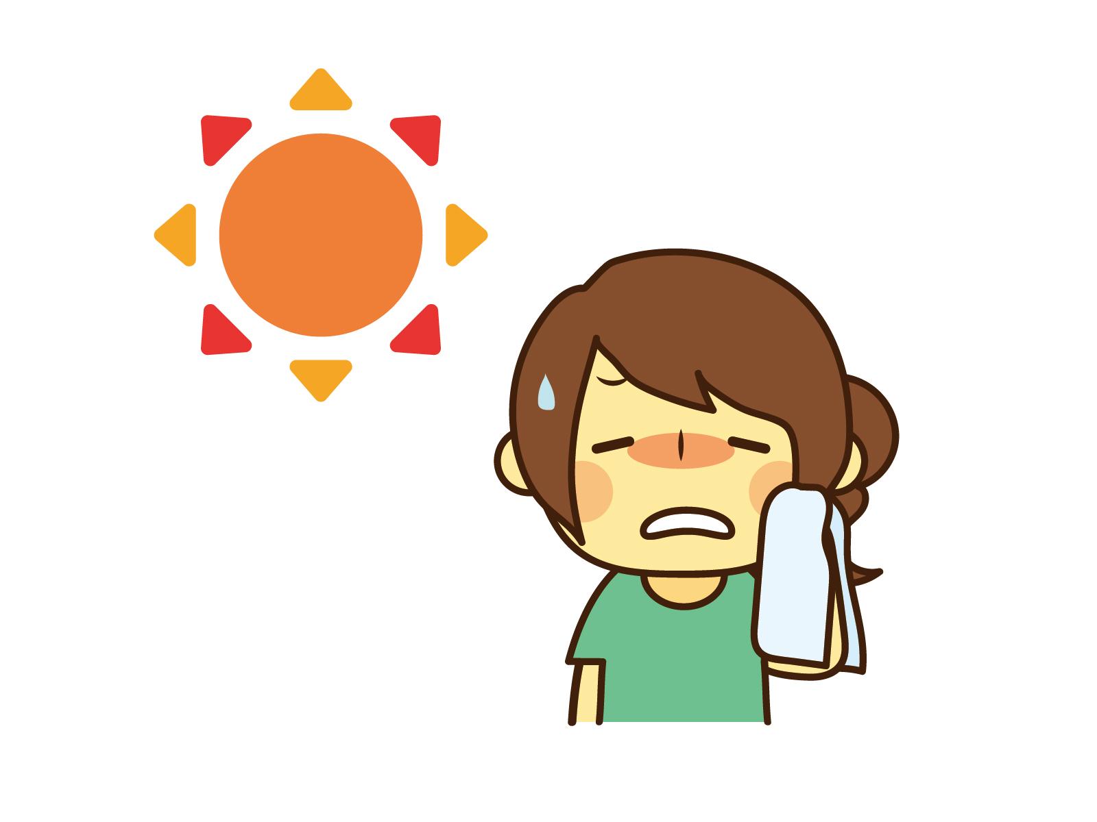 太陽と汗を拭く人