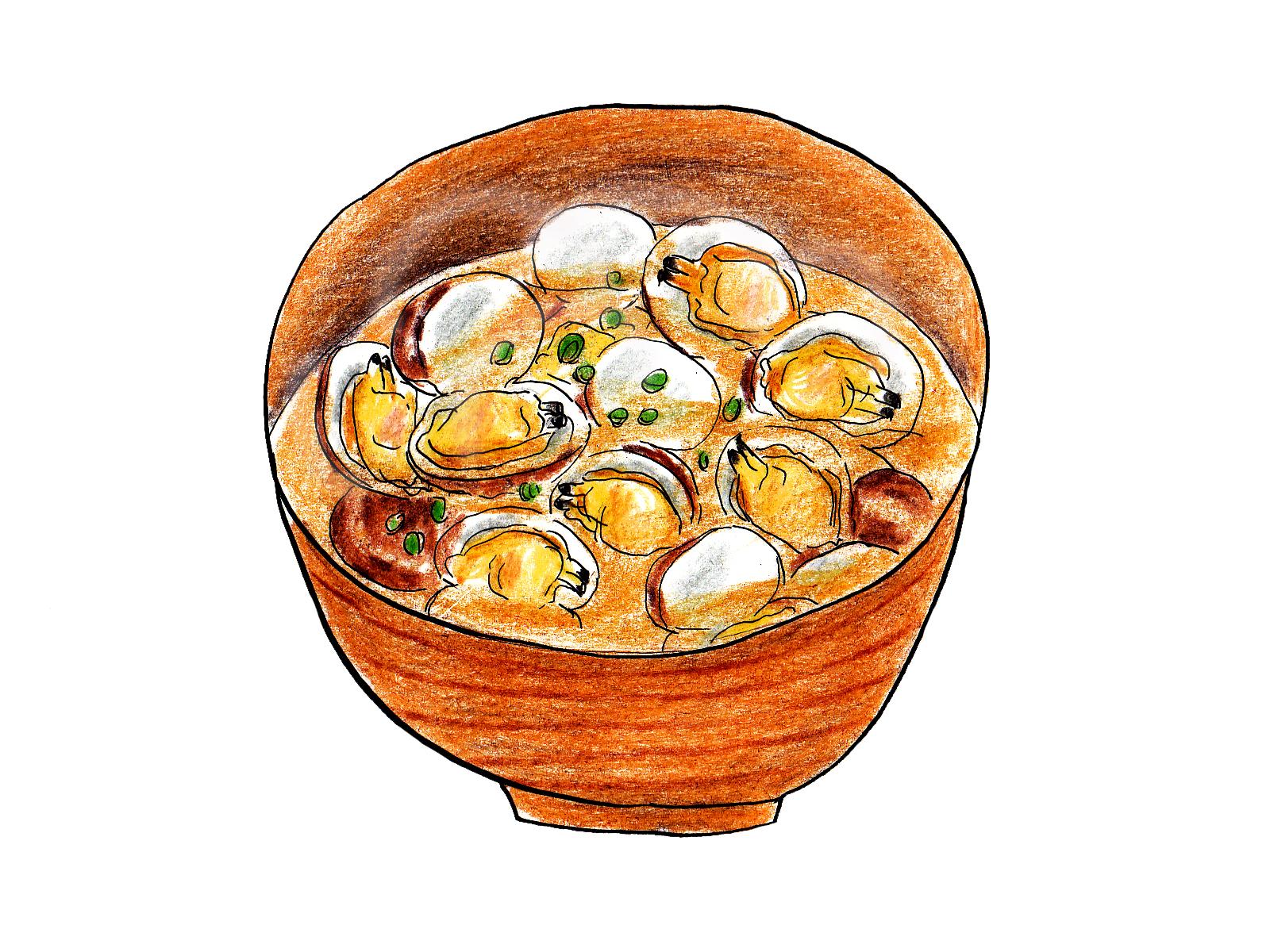 アサリの味噌汁イラスト
