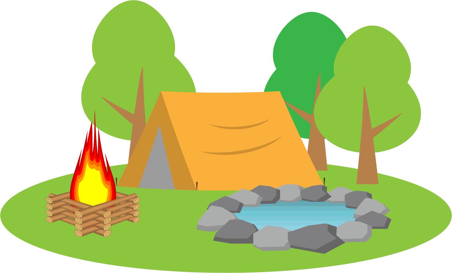テントと焚き火のイラスト