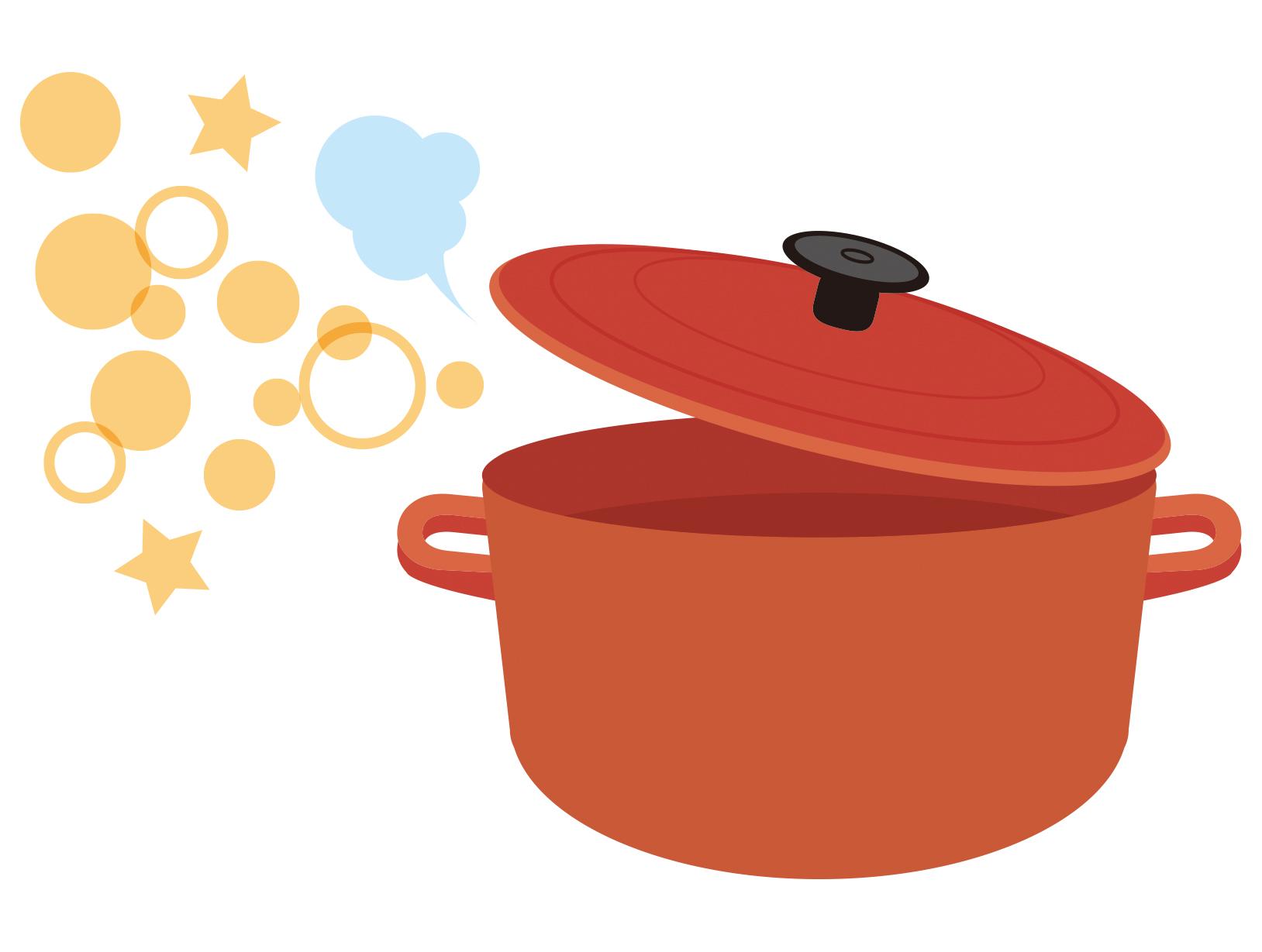 赤い鍋のイラスト