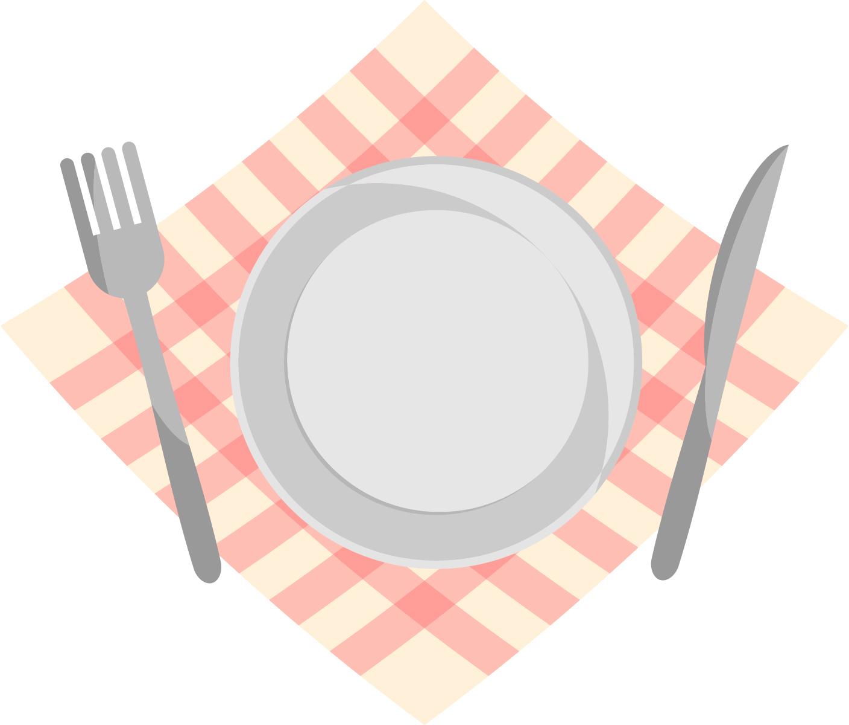 皿とフォークナイフのイラスト