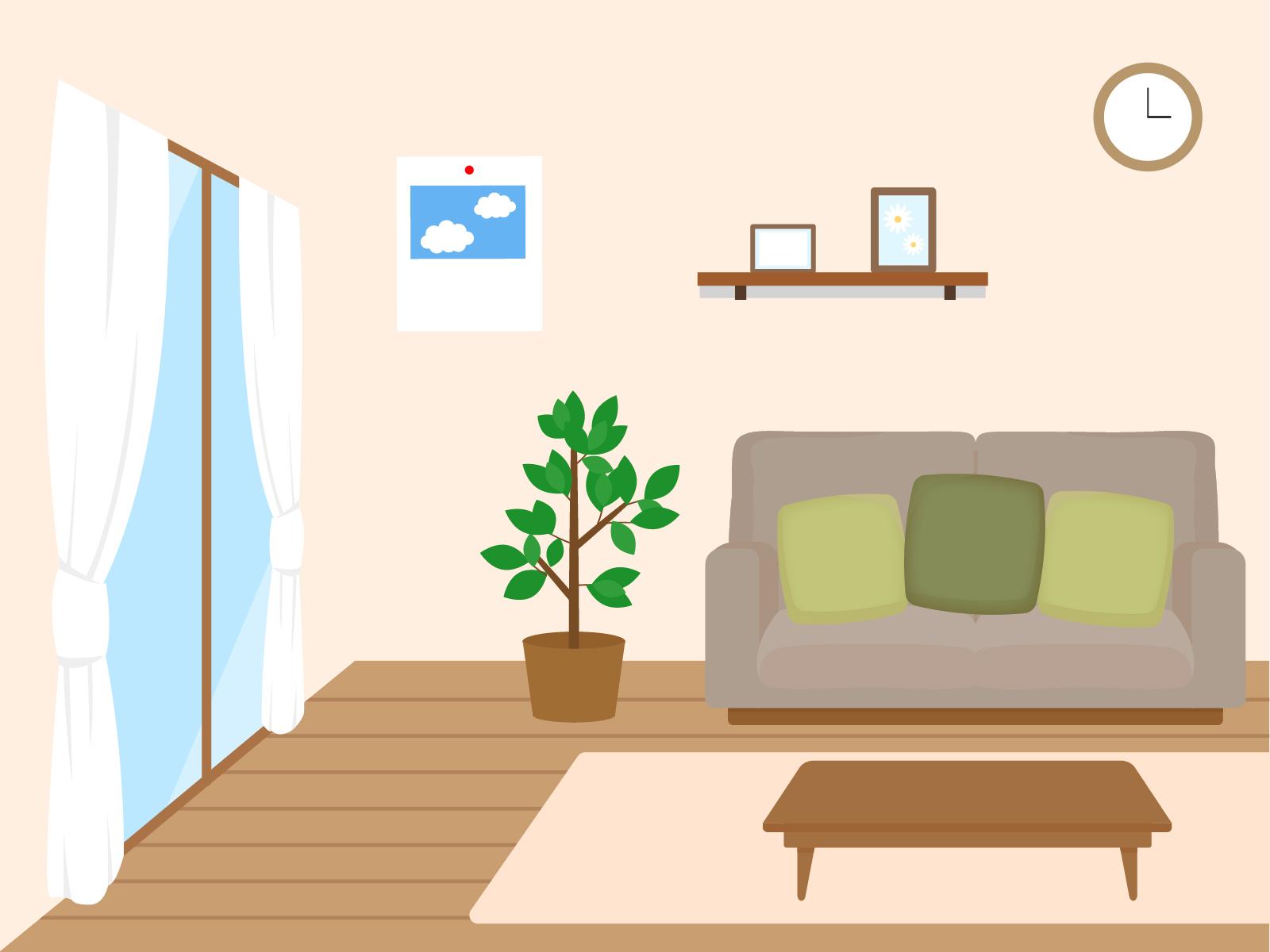 部屋のインテリアイラスト