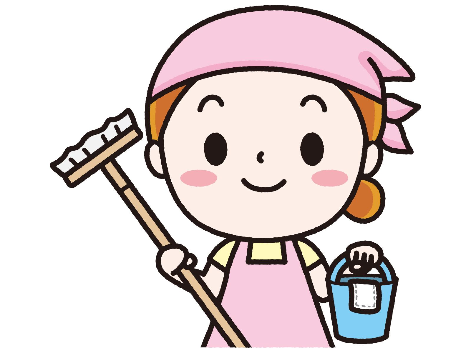 掃除道具を持つ女性