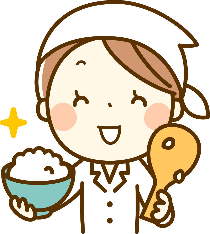 ご飯を盛る女性のイラスト