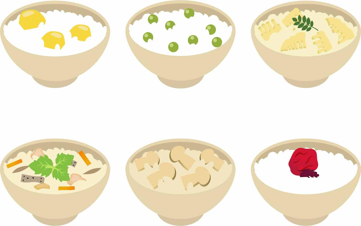 ご飯6種類イラスト