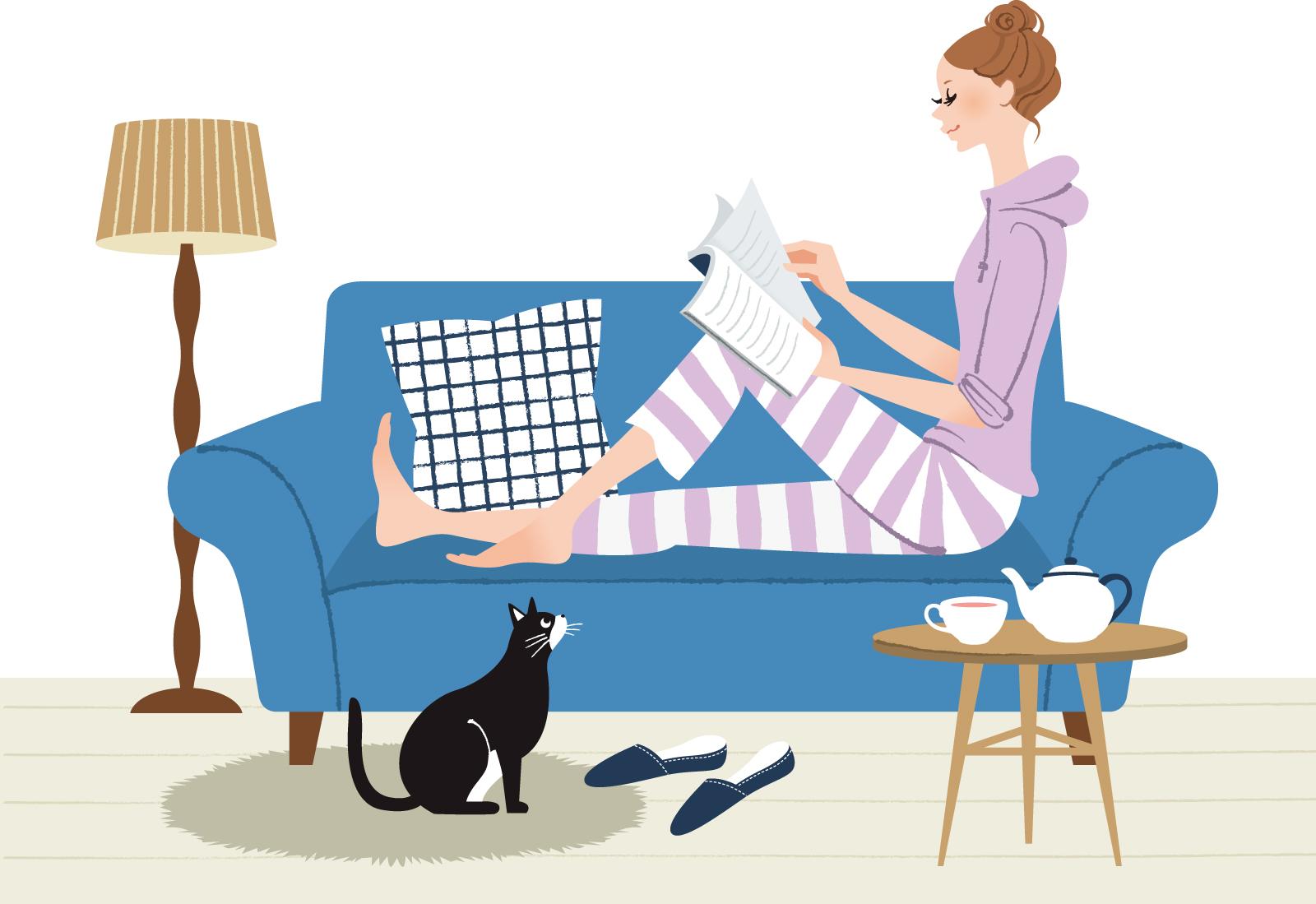 雑誌を読む女性イラスト