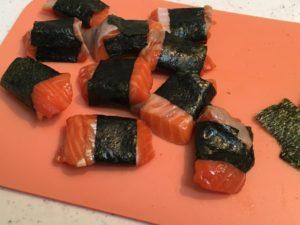 海苔を巻いた鮭