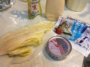 白菜のちぎり和えの材料