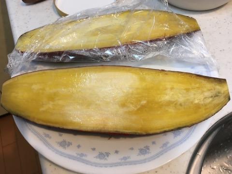 レンチンしたサツマイモ