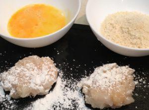 ホタテ、溶き卵、パン粉